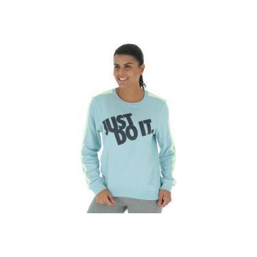 a28b9dba28 Blusão de Moletom Nike Sportswear Crew FLC GX JDI - Feminino - AZUL CLARO  Nike