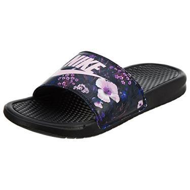 Chinelo Nike Slide Benassi Jdi Preto/floral Rosa