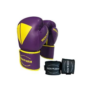Luva Boxe Muay Thai Roxa Kit Com Bandagem Iron Arm