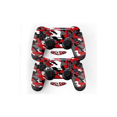 Adesivo Pra Controle Ps4 Camuflado Vermelho - Não É Controle