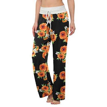 LONGYUAN Calça de pijama feminina confortável casual com elástico e cordão Palazzo Lounge Calça pantalona para todas as estações, Sunflower, XL