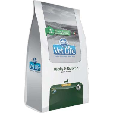 Ração Farmina Vet Life Natural Obesity e Diabetic para Cães Mini - 2 Kg