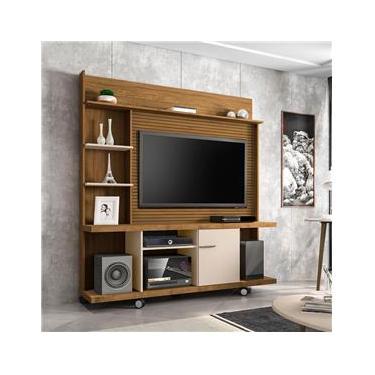 Estante Home para TV até 47 Polegadas 1 Porta Basculante Taurus Cinamomo com OffWhite Ripado