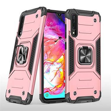 Capa protetora resistente para Galaxy A70, resistente à prova de choque, anel giratório de metal 360, suporte magnético para carro, capa para Samsung Galaxy A70 (SM-A705) - Ouro rosa