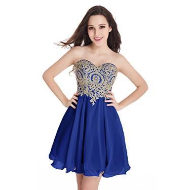 Imagem de Babyonlinedress Babyonline Vestido curto de renda dourado para festa, Royal Blue, 6