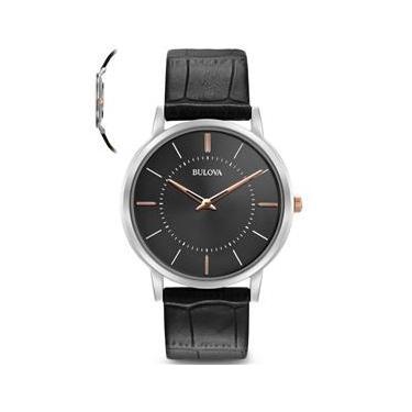 16e8afcbe39 Relógio Bulova Masculino Slim Wb22436t Preto Lançamento