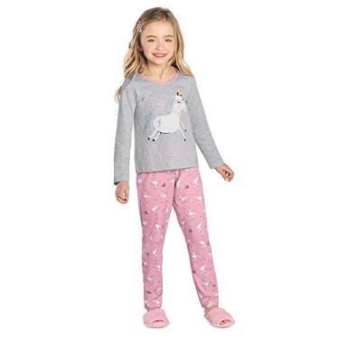 Pijama Infantil Feminino Unicórnio Rovitex Kids Cinza 10