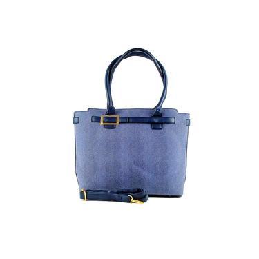 Bolsa feminina Marselha azul com ziper alça de mão e transversal detalhes em dourado