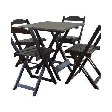 Mesa De Madeira Bar Dobrável 70 x 70 4 Cadeiras (preto)