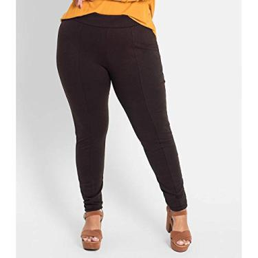 Legging Feminina Plus Size Ponto Roma Rovitex Plus Marrom Plus GG