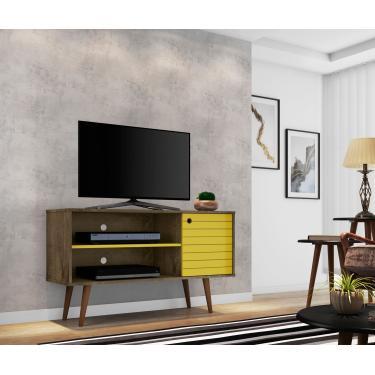 Rack Tv Estilo Retro Jade Cor Madeira Rustica/Amarelo
