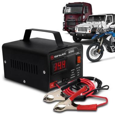 Carregador Bateria Automotivo Shutt Bivolt 12V 5A 60W Com Voltímetro Auxiliar Partida Preto