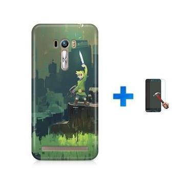 Kit Capa TPU Zenfone Selfie ZD551KL Zelda Link Ocarina of Time Breath of The Wild + Pel Vidro (BD01)