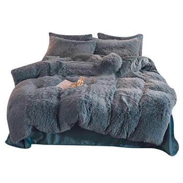 Imagem de CNSELLER Conjunto de 4 peças/conjunto de roupa de cama colorida, capa de colcha de pelúcia longa, conjunto de fronhas, forro de cama, kit de capa de colcha para quarto de inverno