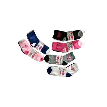 Imagem de Meias Femininas De Cano Curto De Cores Estampas Variadas 12 pares