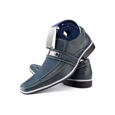 Sapato Social Casual Neway Florense Masculino Azul + 1 Cinto