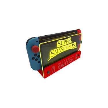 Suporte Bancada/Parede Nintendo Switch Iluminado - Smash Bros - Base Vermelho LED Amarelo