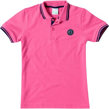 Camisa Polo piquê com aplique, Malwee Kids, Meninos, Salmão, 10