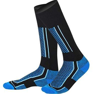 Meias Térmicas de Inverno Esqui Esportivo Alto Meias de Snowboard Unissexo Azul preto masculino Um tamanho