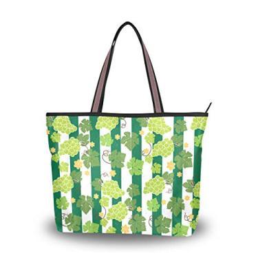 Bolsa feminina com alça superior, estampa de uvas, bolsa de ombro, Multicolorido., Medium
