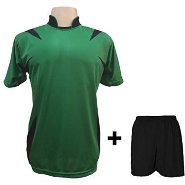 Uniforme Esportivo com 14 camisas modelo Palermo Verde/Preto + 14 calções modelo Madrid Preto + Brindes