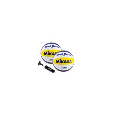Imagem de Kit 2 Bolas de Vôlei de Praia VXL30 Branco, Amarelo e Azul Mikasa com Bomba