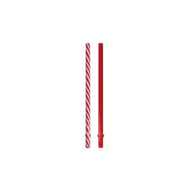 10 Canudos Plastico 19Cm Vermelho/Branco Decoração Festas