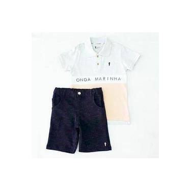 Conjunto Camiseta Polo Em Pique Coral Onda Marinha A2537