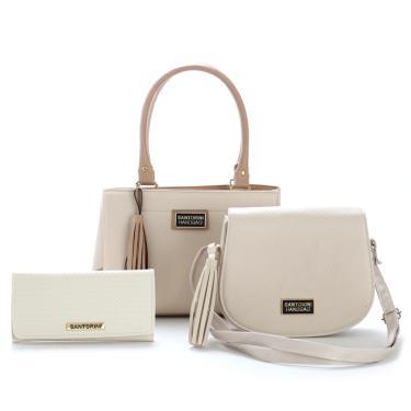 Bolsas Feminina Média Bicolor e Pequena Mais Carteira Santorini Handbag Creme/Nude  feminino