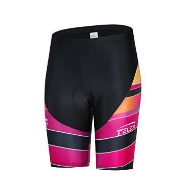 Imagem de Weimostar Shorts de ciclismo feminino acolchoado com gel 3D, Laranja, M