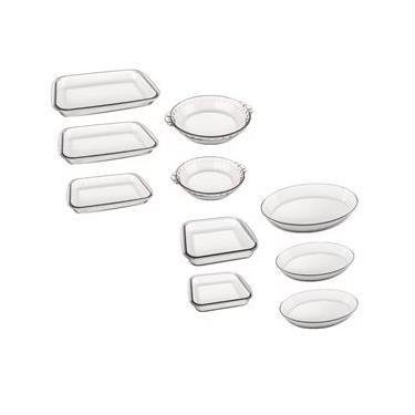 Conjunto de Assadeiras Refratárias 10 Peças Marinex em Vidro Sodacal Resistente a Choque Térmicos