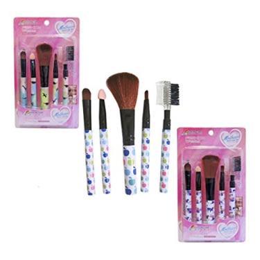 Kit C/5 Pincéis Maquiagem Make Up Blush Sombra Lábios Peças