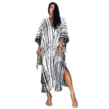 Veggicy Saída de praia feminina, saída de praia e quimono, saída de praia para mulheres, Faixa branca e preta, tamanho �nico