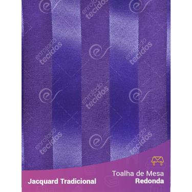 Imagem de Toalha De Mesa Redonda Em Tecido Jacquard Roxo Listrado Tradicional