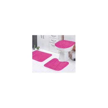 Imagem de Jogo de Tapetes Banheiro Rosa Liso Padrão 3 Peças