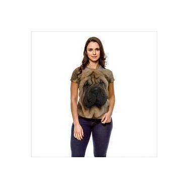 Camiseta Cachorro Sharpei Bege Cinza Feminina