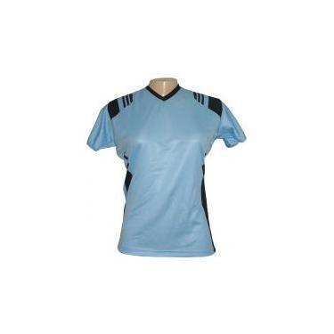 Jogo de Camisa Feminino Modelo Espanha Baby Look Tamanho G - Celeste Preto  com 10 98c5e0bc2d3b7