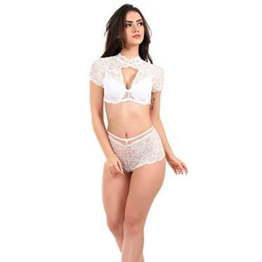 Conjunto IMI Lingerie Com Bojo Caleçon Em Renda E Tule Cropped Branco Tamanho:G