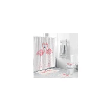 Imagem de 1/3/4 unidades 3D Flamingo cortina de chuveiro à prova d'água à prova de mofo Capa de banheiro Tapete antiderrapante 3 peças de decoração de banheiro Conjunto de tapete de banheiro