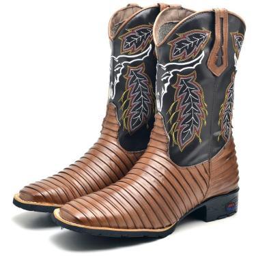 Imagem de Bota Texana Masculina Couro Tatu Solado Borracha Country Marrom 37 Marrom  masculino