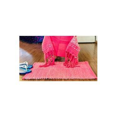Imagem de Jogo de toalha de rosto e tapete para banheiro e lavabo, cores rosa e cru