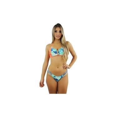 Biquíni Feminino Citno Palms Blue Coral Rosa Tropical Estampado Verão 2020