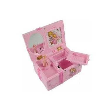 Caixinha de música com porta jóias rosa com bailarina