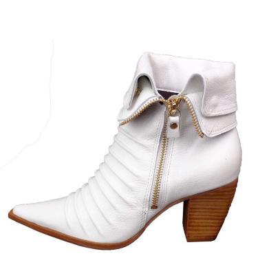 Bota Dina Mirtz Selada por Rugas Branca  feminino
