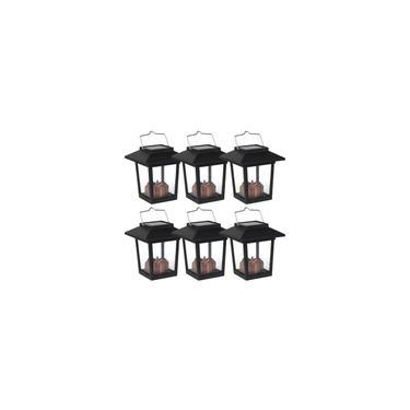Lanterna solar Lanterna solar suspensa ao ar livre para guarda-chuva de jardim gramado com 6 peças