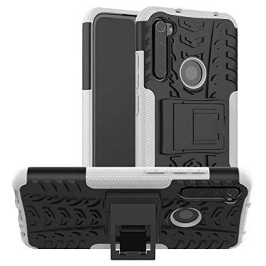 """Capa Capinha Anti Impacto Para Xiaomi Redmi Note 8 Normal Tela 6.3"""" Case Armadura Hybrid Reforçada Com Desenho De Pneu - Danet (Branco)"""