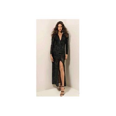 Vestido Longo Decote V Com Fenda Morena Rosa 107696