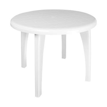 Mesa de Plástico Redonda Desmotável Telma Branca