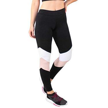 Calça Feminina Legging Fitness Preto Com Detalhes Chocolate e Branco