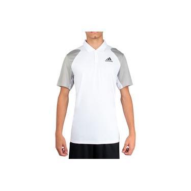 Camisa Polo Adidas Club Tennis Branca e Cinza